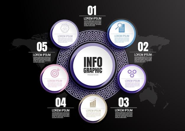 プレゼンテーション用のインフォグラフィックビジネスデータプロセスチャートデザインテンプレート