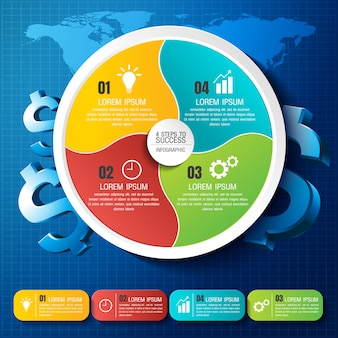 Infographic business data with 3 steps