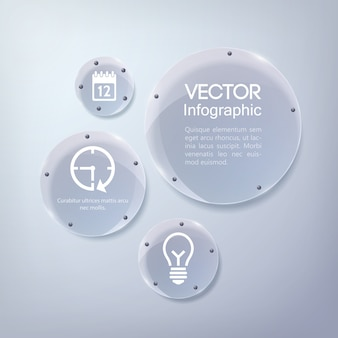 アイコンとガラスの光沢のある円でインフォグラフィックビジネスデザイン