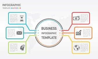 Infographic business diagram template 6 options. thin line style.