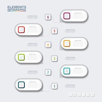 Инфографики бизнес элементы, прямоугольник 6 вариантов.