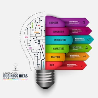 Infographic business light bulb vector design template. Can be used for workflow processes