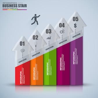 インフォグラフィックビジネス階段成功ベクトルデザインテンプレート