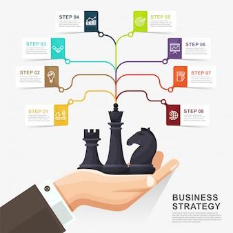インフォグラフィックビジネス戦略概念テンプレート。チェスの図を持っているビジネス手。