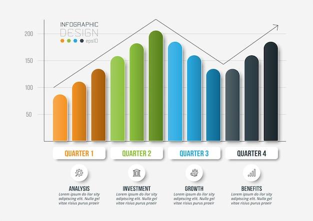 그래프 또는 차트 디자인 인포 그래픽 비즈니스 템플릿