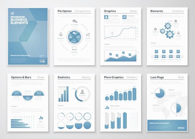 コーポレートパンフレットのためのインフォグラフィックビジネスベクターエレメント