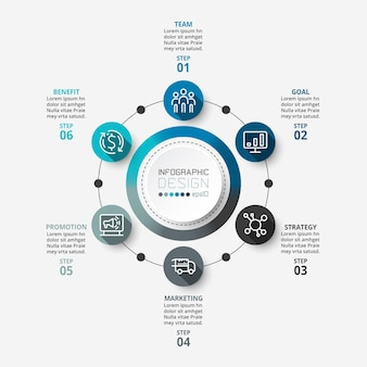 6 단계 프로세스 워크 플로우가 포함 된 인포 그래픽 비즈니스