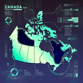 Infographic of canada neon map in flat design