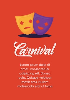 Infographic of carnival concept with theater masks