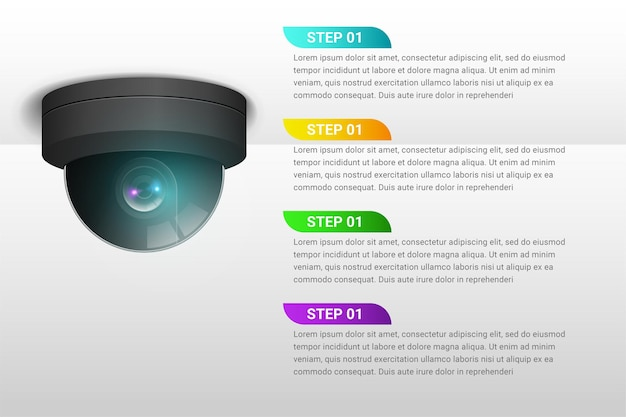 Концепция функции камеры видеонаблюдения инфографики