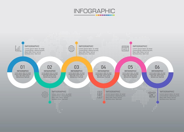 Infographic chart with business concept, 6 options can be used for business concept with 6 steps.