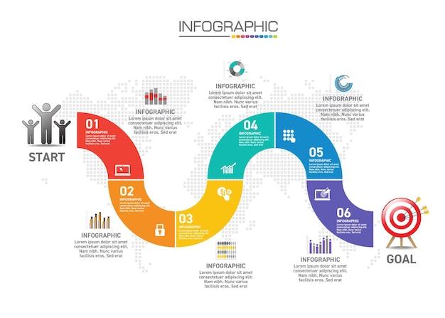 ビジネスコンセプトのインフォグラフィックチャート、6つのオプションは6つのステップでビジネスコンセプトに使用できます。 Premiumベクター