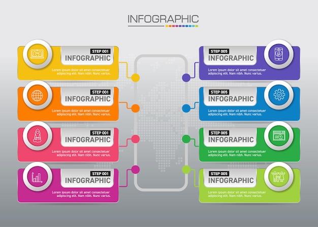 비즈니스 개념이있는 infographic 차트, 8 단계의 비즈니스 개념에 8 가지 옵션을 사용할 수 있습니다.