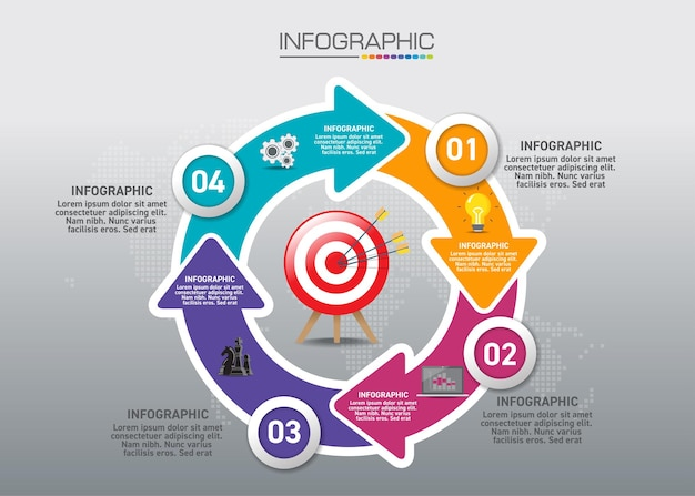 Infographic chart with shopping concept, 5 options can be used for business concept with 5 steps.
