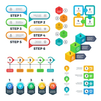 Infographic charts. bar graphs, steps and options elements, flowchart diagrams and timeline. useful vector set