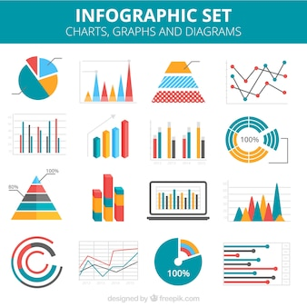 Infographic Charts Colorful Set