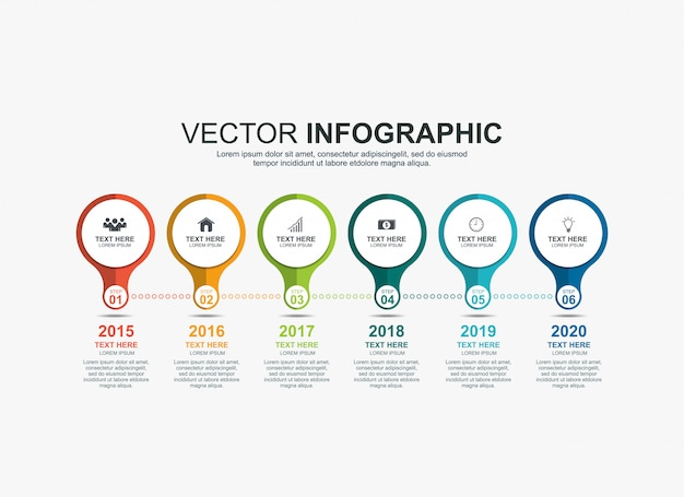 Infographic circle elements timeline process chart template