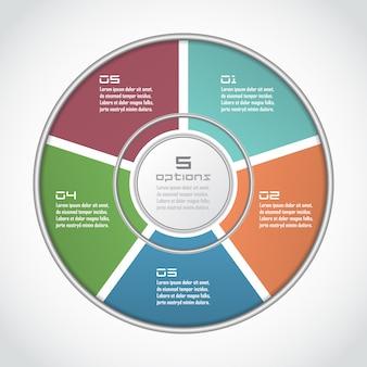 Инфографики круг в тонкой линии плоский стиль. шаблон бизнес-презентации с 5 вариантами, частями, шагами. может использоваться для диаграммы цикла, графика, круглого графика