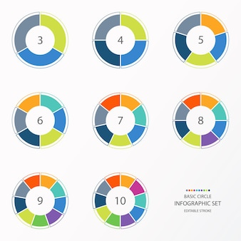 Infographic circle set with colorful tone.  10 process or steps.