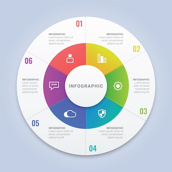 Infographic circle template with 6 options for workflow layout, diagram, annual report, web design