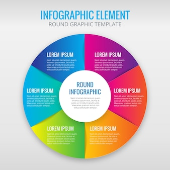 Infographic circle with 6 colors