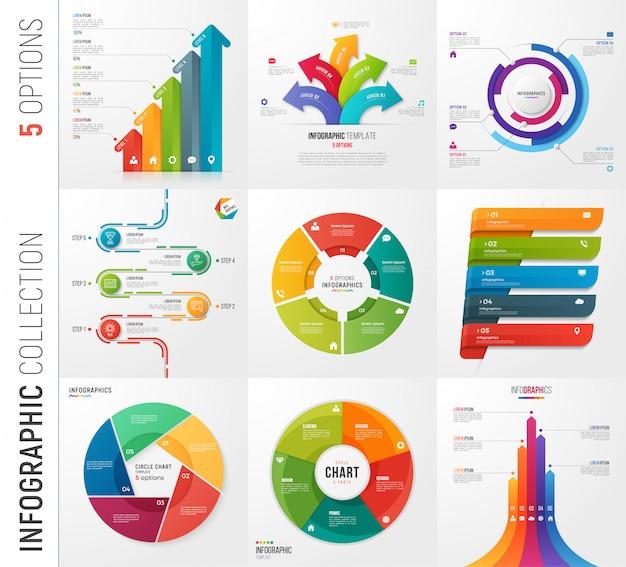 Инфографика коллекция вариантов векторных шаблонов