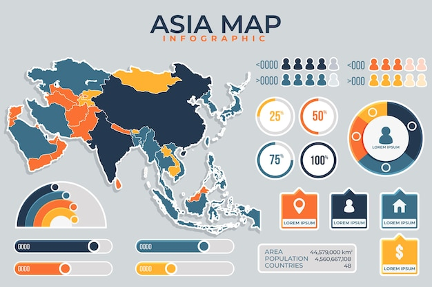 Infographic of coloured asia map in flat design