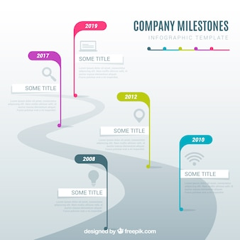 Infographic company milestones concept with road