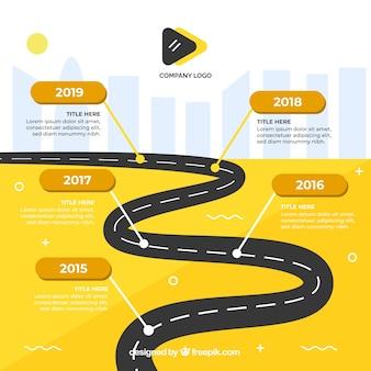 Infographic company milestones concept with road