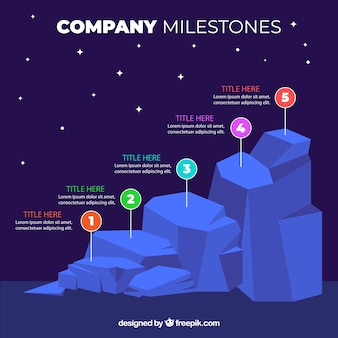 Infographic company milestones concept with rocks