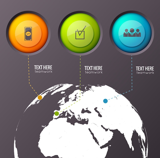 Инфографическая композиция с тремя кнопками разного цвета, связанными с точками на земном шаре