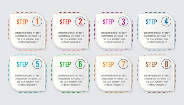 Infographic concept  for business. 8 steps infographics label design