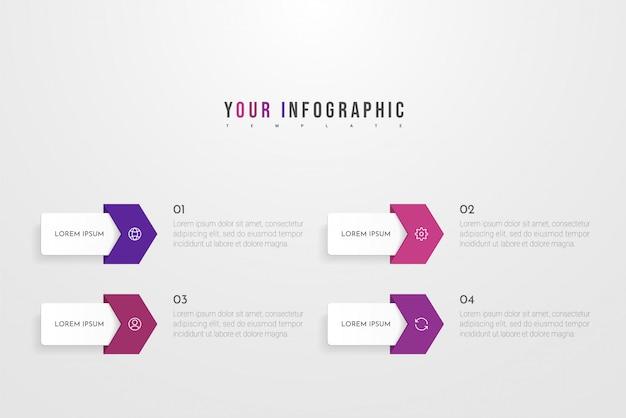 4 가지 옵션, 단계 또는 프로세스가 포함 된 infographic 컨셉 디자인. 워크 플로 레이아웃, 연례 보고서, 순서도, 다이어그램, 프리젠 테이션, 웹 사이트, 배너, 인쇄물에 사용할 수 있습니다.
