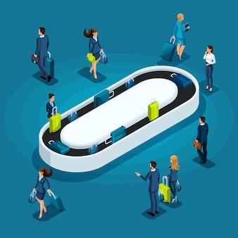 フライト、ビジネスの女性とビジネス旅行で荷物を持ったビジネスマンの後に手荷物を得るのインフォグラフィックコンセプト