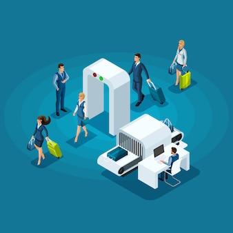 空港の建物、ビジネスの女性、ビジネスマンの出張への入り口で手荷物検査に合格することのインフォグラフィックコンセプト