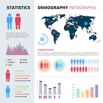 Infographic concept  of people population. demographic  illustrations with economic charts and graphs. data information map economic