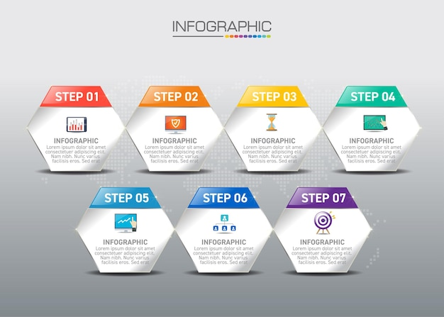 Infographic concept of shopping online process with 6 steps.