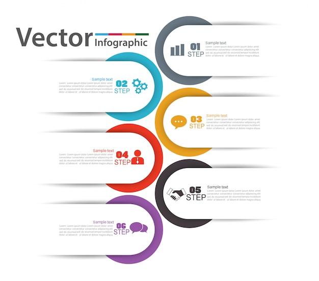 Инфографики концепция с 6 вариантов плана слайда