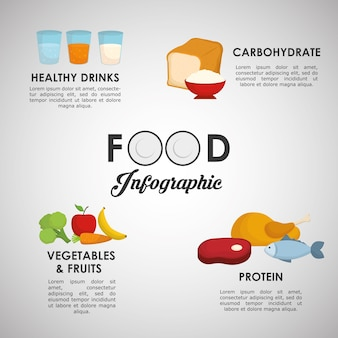 Infographic concept with healthy food  icon design