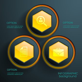 Infographic concept with three orange hexagonal web elements and business icons