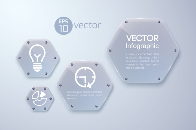 Infographic concept with white icons and glass hexagons