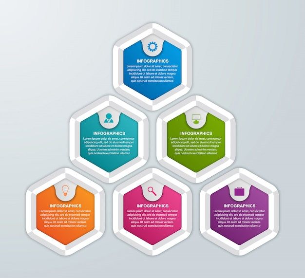 Infographic consisting of six hexagons