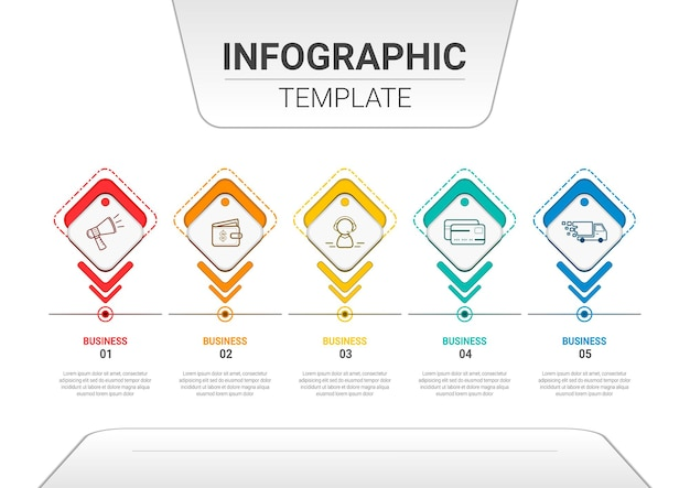 手順とオプションのプレゼンテーションビジネステンプレートを含むインフォグラフィックコンテンツ