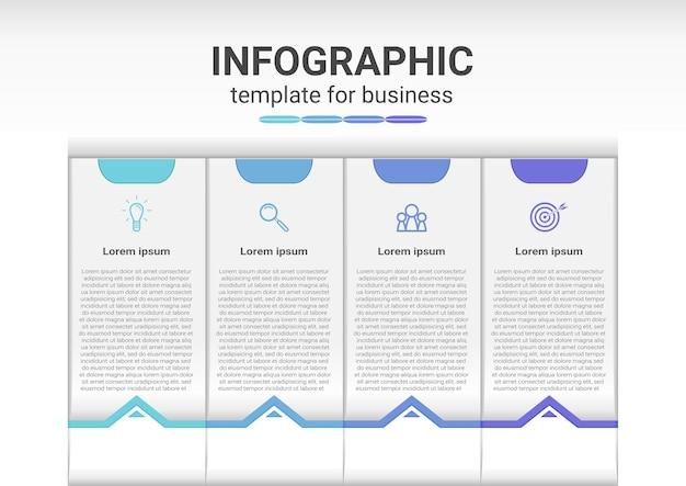 Инфографический контент с шагами и вариантами презентации бизнес-шаблона
