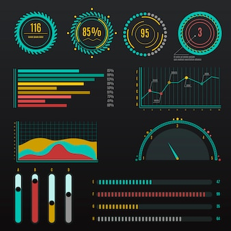 Infographic dashboard element collection