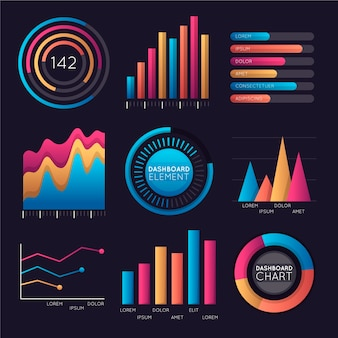 Infographic dashboard element set