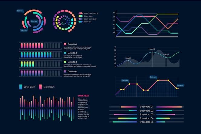 インフォグラフィックダッシュボード要素セット