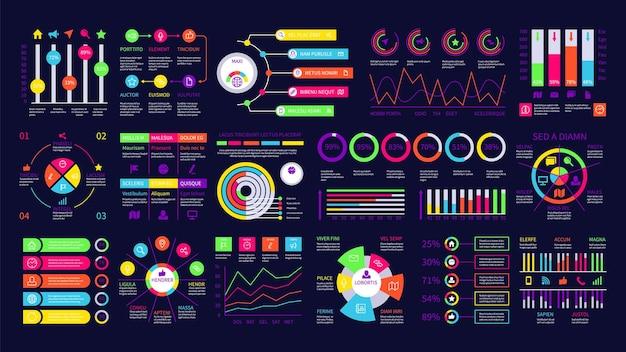 インフォグラフィックダッシュボード。グラフィックチャート、財務図。 webデータグラフとuiインターフェイス要素。プレゼンテーションベクトルセットの最新の統計。インフォグラフィック図、チャート財務図