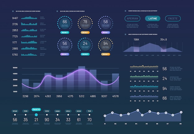 Infographic dashboard graphics set
