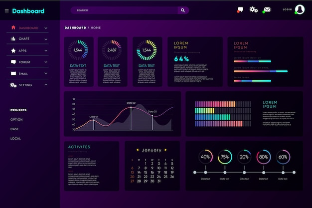 Infographic dashboard user panel